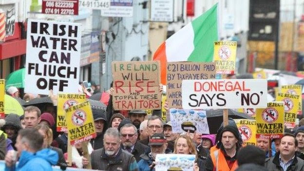 Protests took place in towns and cities across the Republic, including Letterkenny in County Donegal