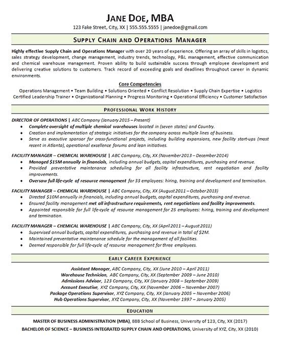 1729 resume supply chain