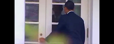 President Obama trying to enter White House (via Yahoo! video/CBS)