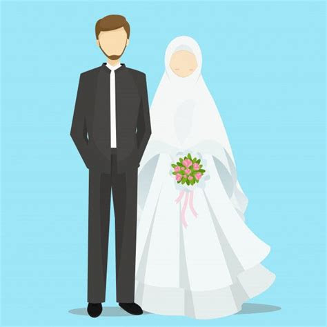 muslim bride  groom cartoon characters illustration