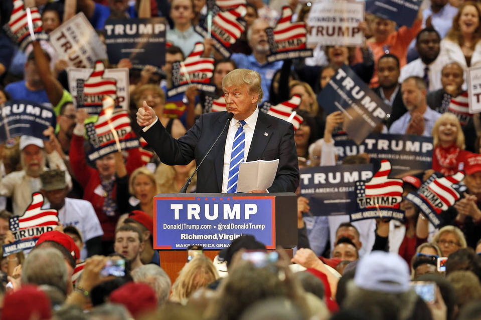 Republican presidential hopeful Donald Trump campaigning in Richmond, Va., Oct. 14.