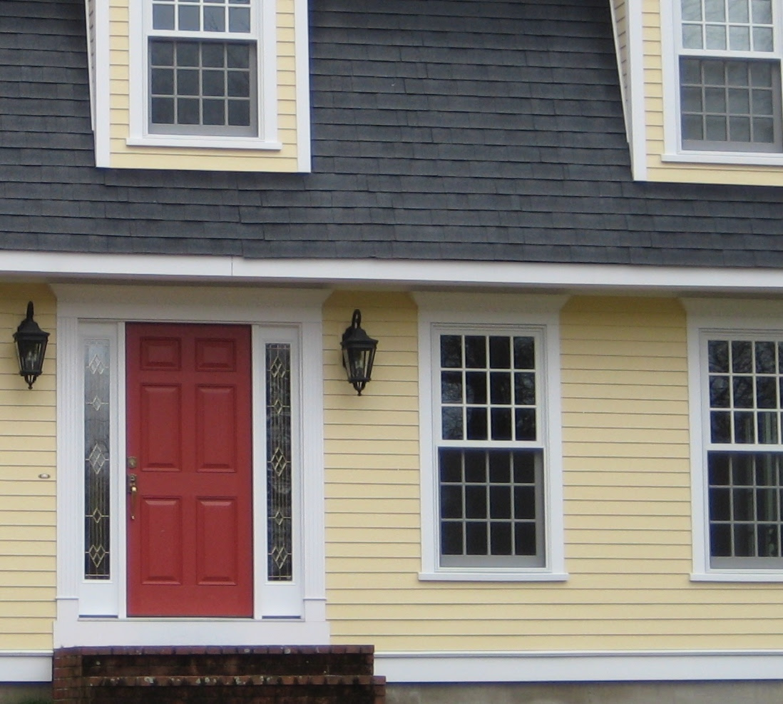 What color to paint an exterior door for a yellow house? (hardwood ...