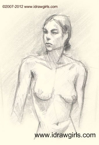 how to draw woman upper body