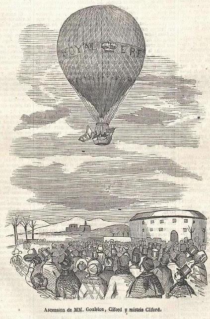 Grabado de la ascensión aerostática de Charles Clifford en el diario La Ilustración del 18 de enero de 1851