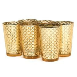 Glass Votive Candle Holders   4 Lattice Gold Votive