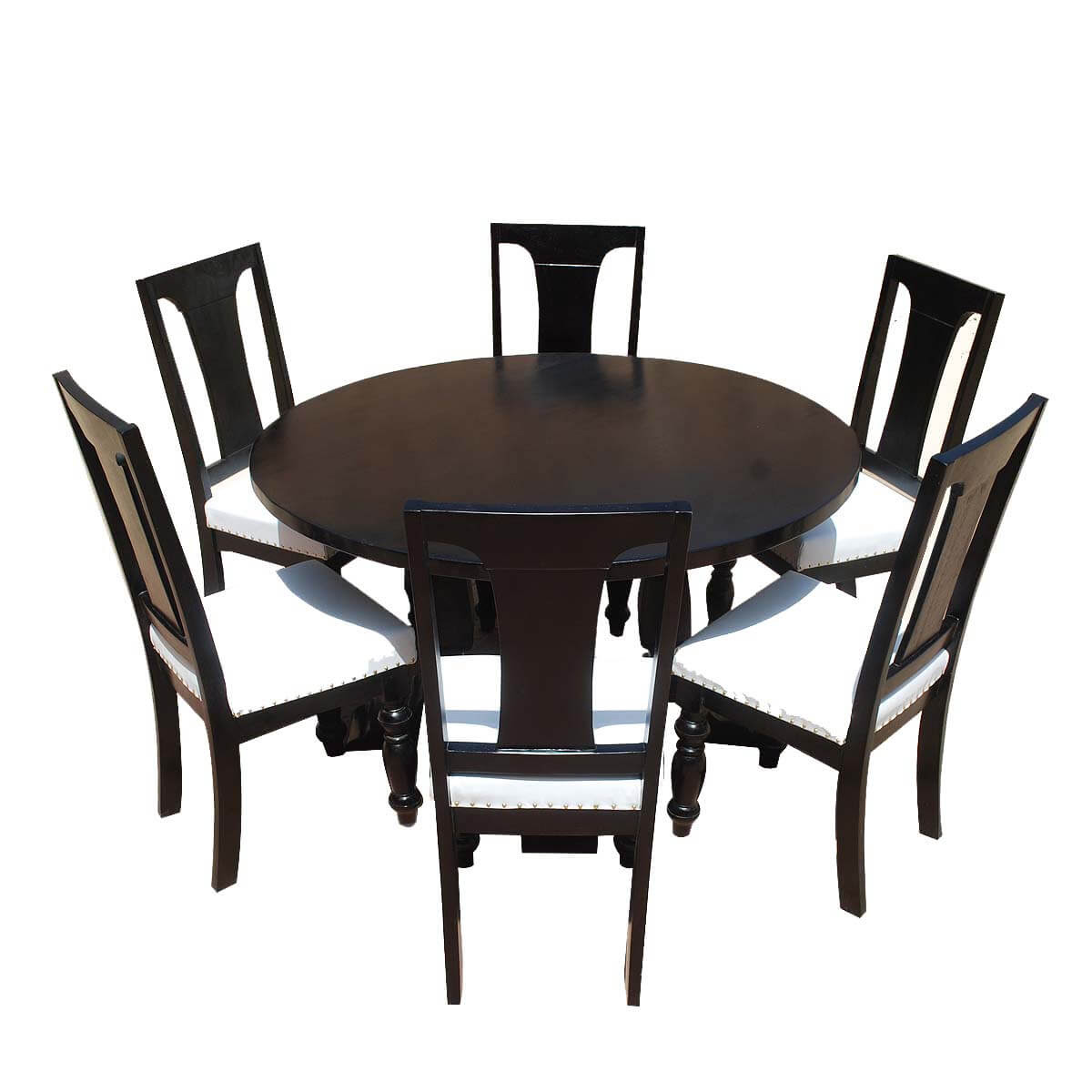 California Solid Wood & Leather 7p Round Dining Room Set