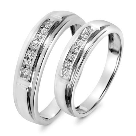 1/8 Carat T.W. Diamond His And Hers Wedding Band Set 10K