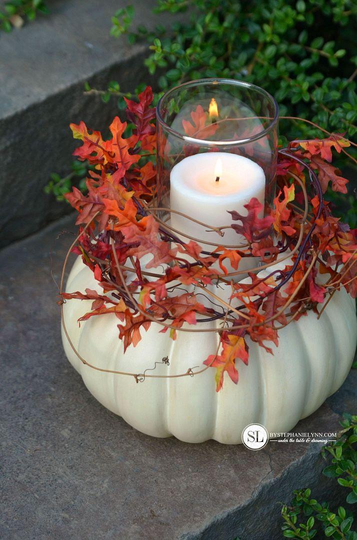 Pumpkin Candle Holder from By Stephanie Lynn  |  25 Creative DIY Pumpkins at www.andersonandgrant.com