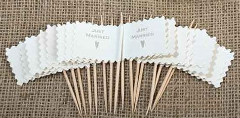 """Just Married"" Wedding Favor Flag Toothpicks   Package of"