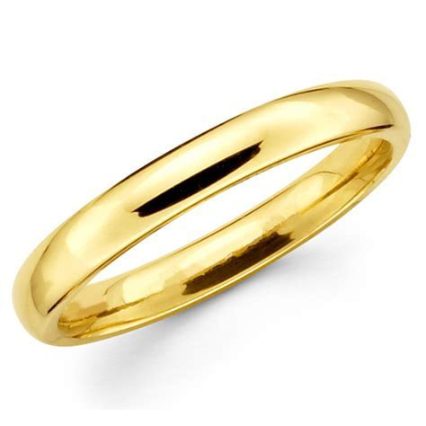 10K Solid Yellow Gold 3mm Plain Men's and Women's Wedding