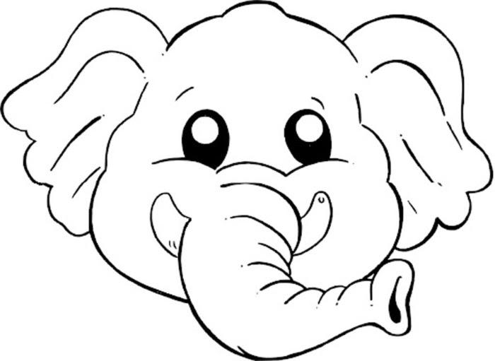 Disegno Di Maschera Di Elefantino Da Colorare Per Bambini