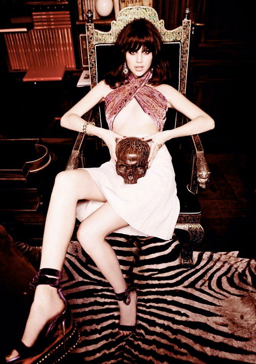 Anais Pouliot  Ellen von Unwerth Vogue Russia March 2012 ROCK AND ROLL GLAM WRAP BANDEAU TOP BROCADE VELVET WHITE PLEATED SKIRT VELVET BURGUNDY ANKLE WRAP HEELS SKULL 4
