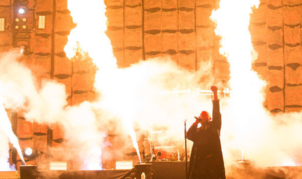 Disturbed performing with fire
