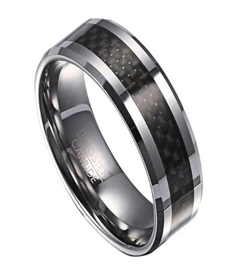 tungsten wedding ring  men  black carbon fiber