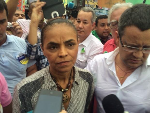 Marina Silva (PSB) fez campanha na Rocinha, Zona Sul do Rio (Foto: Mariucha Machado/G1)