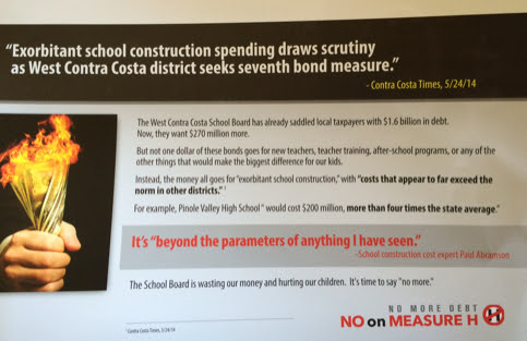 "The California Charter Schools Association Advocates paid for this anti-Measure H mailer, opposing West Contra Costa Unified's school construction bond. ""The School Board is wasting our money and hurting our children. It's time to say 'no more,'"" it said."