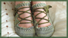 Elfen leaves Lothlorien slippers green merino-tencel laceup toe up socks