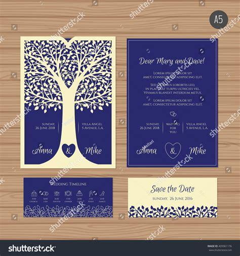 Wedding Invitation Greeting Card Tree Paper Stock Vector