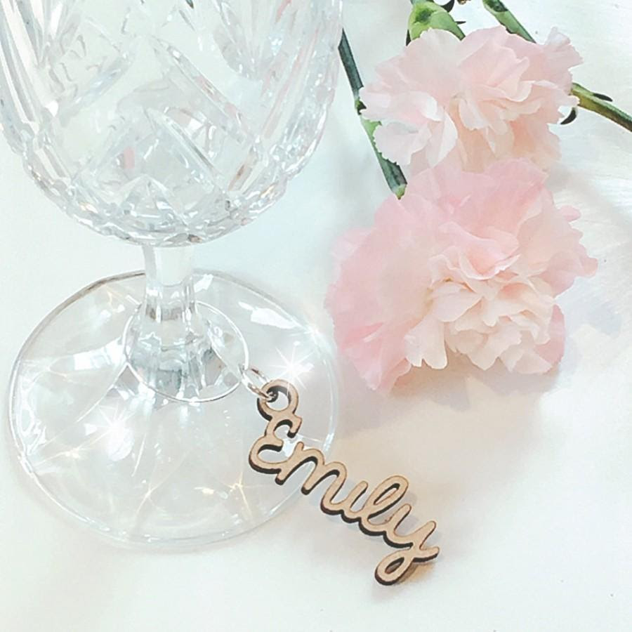 Wooden Wedding Place Name Keyring Wooden Wine Glass Charm Wedding
