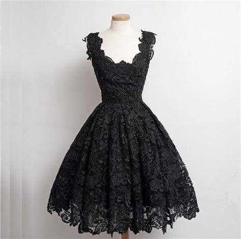 Real Beautiful Black Lace Short Prom Dresses,Simple