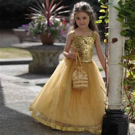 Girls Gold Sequin Ballgown Bridesmaid Party Dress