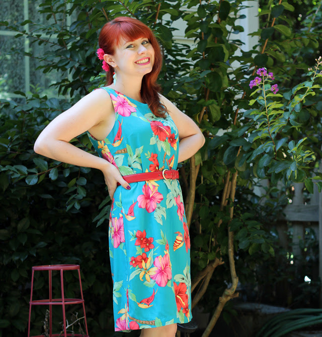 Blue Hawaiian Hibiscus Shift Dress