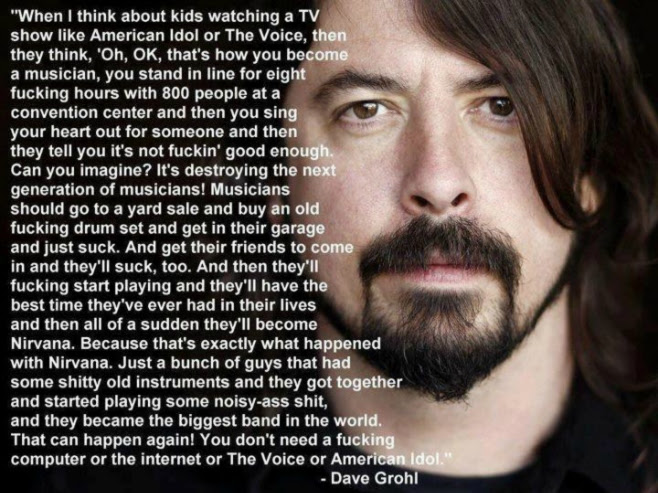 """Image result for dave grohl """"the voice"""" shitty old instruments"""""""