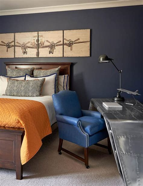 Blue and Orange Boy Bedroom with Aviator Wing Desk   Traditional   Boy's Room