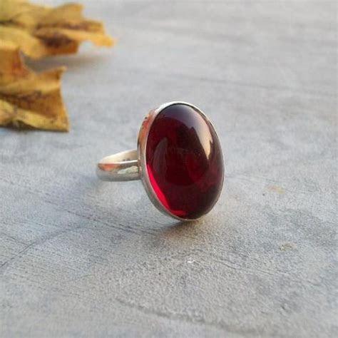 Buy Cabochon Garnet Ring, Red jewel ring, Silver garnet
