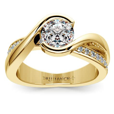 bezel diamond bridge engagement ring  yellow gold