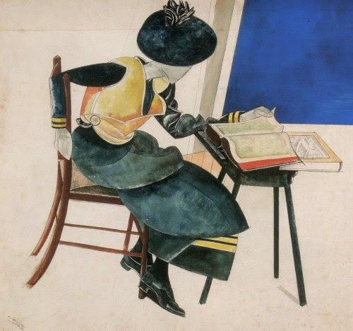 Between pages / Entre páginas (ilustración de Wyndham Lewis) Via: reading-as-breathing