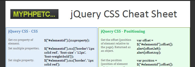 jQuery CSS Cheat Sheet (PDF)