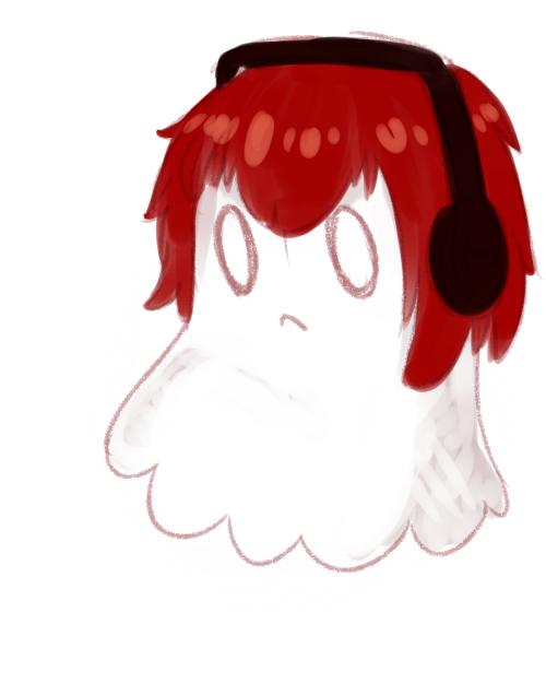 """i was gonna draw castiel with headphones but then my mind was like'hey you know who else wears headphones? napstablook that's who"""" and so i give to you: castablook"""