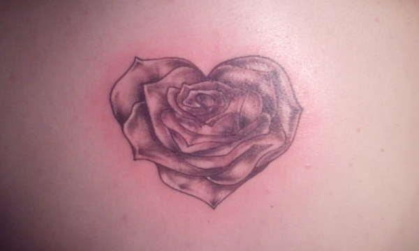 Heart Shaped Rose Tattoo