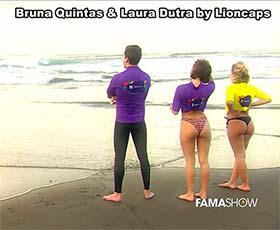 Bruna Quintas e Laura Dutra sensuais em biquini no Famashow
