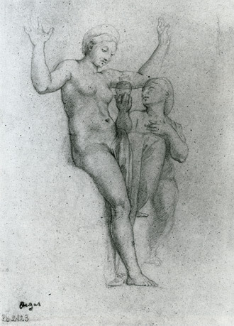 drawing copy after Raphael's Venus and Psyche by Edgar Degas