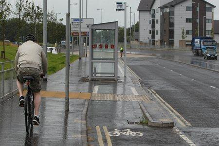 Cycle Path Bus stop on The Clyde Gateway