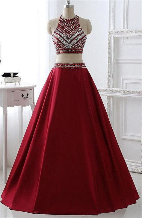 Two Pieces Burgunday Prom Dress Bridal Party Dresses