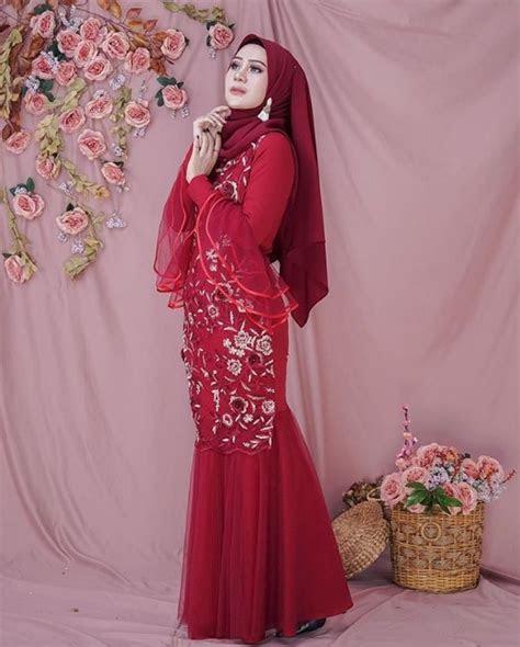 model baju gamis brokat duyung terbaru gambar islami