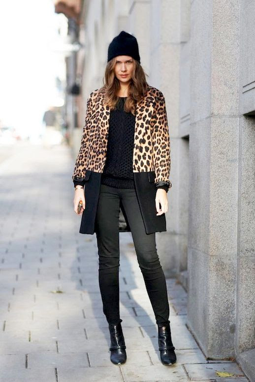 Le Fashion Blog Winter Style Black Beanie Long Colorblock Leopard Print Coat Faded Black Skinny Jeans Leather Ankle Boots Via Carolines Mode