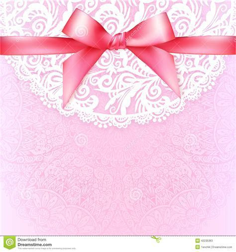 Pink Lacy Vintage Wedding Greeting Card Template Stock