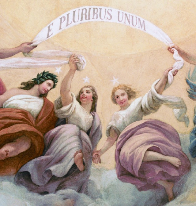 Constantino Brumidi's Apotheosis of Washington, Detail: E Pluribus Unum