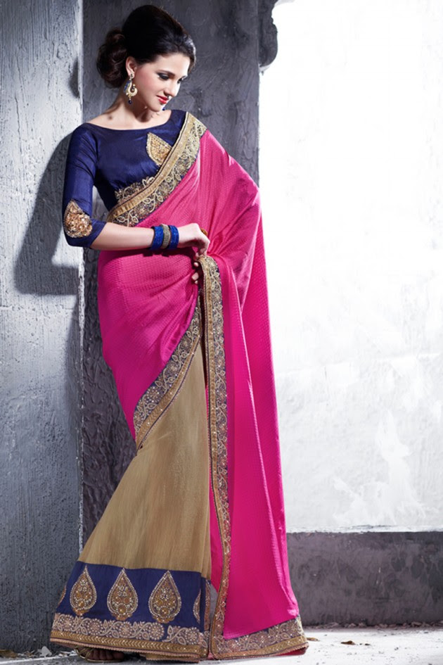 Indian-Brides-Bridal-Wedding-Party-Wear-Embroidered-Saree-Design-New-Fashion-Reception-Sari-5