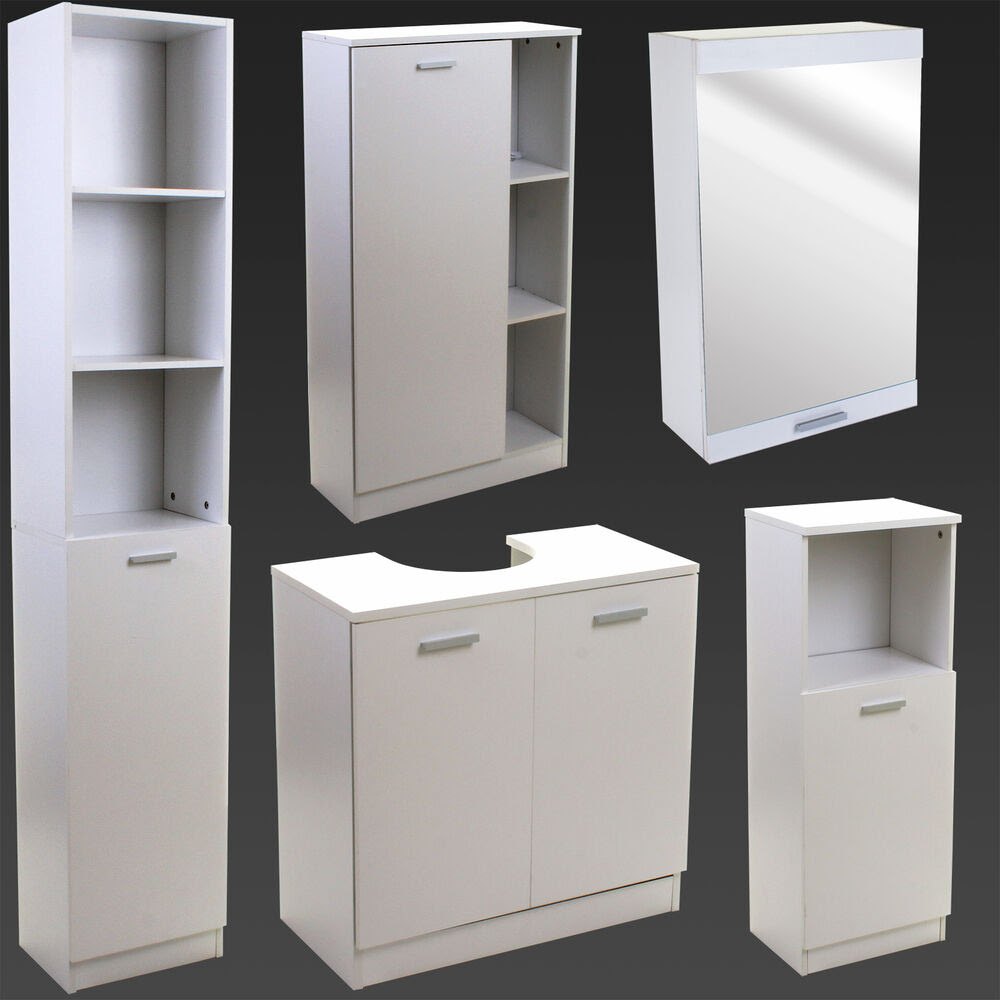 White Bathroom Furniture Storage Cupboard Cabinet Shelves ...