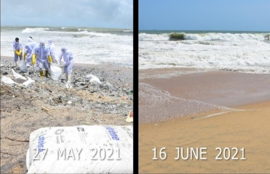 Efforts to clean affected beach from MV X-PRESS PEARL fire