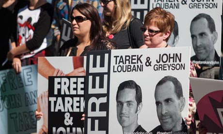 John Greyson and Tarek Loubani supporters