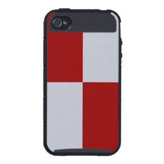 Red and Grey Rectangles Cases For iPhone 4