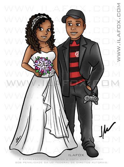 caricatura corpo inteiro, colorido, caricatura noivinhos, caricatura casal negro, caricatura para casamentos by ila fox