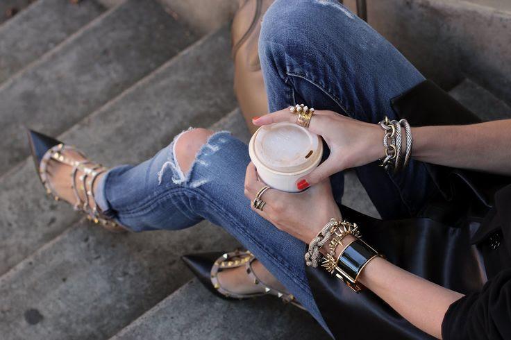Distressed jeans, amazing heels Haute cookie
