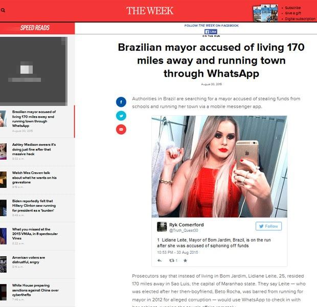 The Week americana destaca busca à prefeita no Maranhão (Foto: Reprodução / The Week US)
